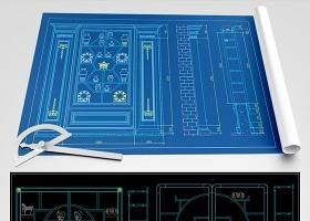 原創新中式博古架博古柜CAD圖庫-版權可商用