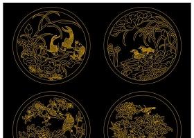 原创新中式雕花角花屏风花格CAD图纸