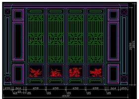 原创新中式屏风花格隔断垭口CAD图库-版权可商用
