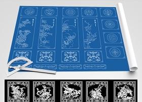 原創雕花裝飾畫山水畫CAD圖庫-版權可商用