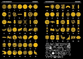 原創中國風傳統吉祥圖案龍鳳花鳥背景墻CAD雕花圖庫-版權可商用