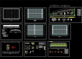 原创拱型轻钢结构厂房CAD结构施工图