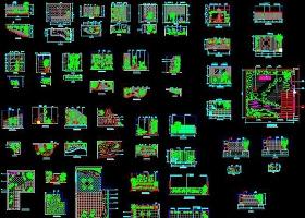原创CAD室内小景园林景观立面图施工图节点-版权可商用