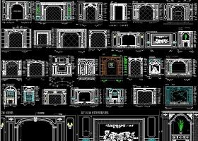 原创大理石背景墙CAD-版权可商用