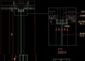 原创CAD玻璃隔墙立面图施工图剖面图玻璃隔断-版权可商用