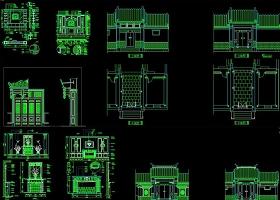 CAD中式门头雕花屏风隔断中式牌楼花格