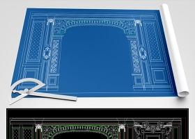 原創歐式豪華整木展廳設計分解CAD圖-版權可商用