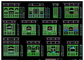 原创整木家居实木酒柜书柜CAD图库-版权可商用