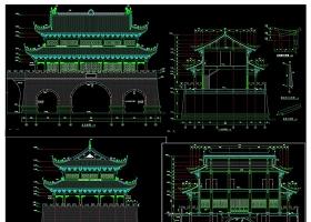 原创仿古代城门楼建筑全套CAD施工图-版权可商用