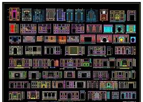 整木家居客廳餐廳背景墻CAD圖庫