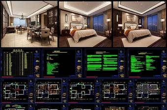 原创CAD详细的新中式家装施工图剖面室内设计-版权可商用
