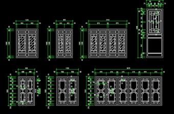 原创古建筑木质门窗立面图CAD-版权可商用