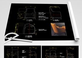 原创休闲椅CAD休闲沙发CAD椅子CAD图库-版权可商用