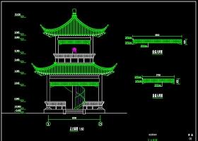 原创四角亭真双层建筑结构施工图纸CAD图纸-版权可商用