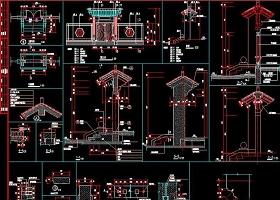 原創中式門樓CAD節點詳圖明清建筑門樓仿古建-版權可商用