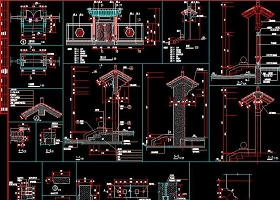 原创中式门楼CAD节点详图明清建筑门楼仿古建-版权可商用