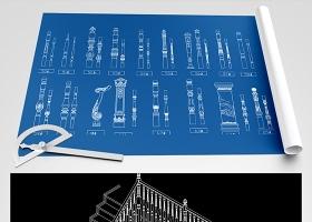 原创欧式楼梯扶手CAD样式图-版权可商用