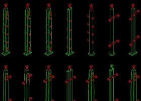 原创钢木楼梯立柱铁艺楼梯栏杆CAD图库-版权可商用