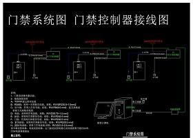 原創門禁系統圖門禁控制器接線圖CAD弱電智能化-版權可商用
