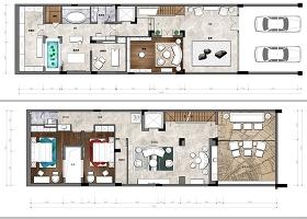 原創家居別墅PSD分層彩色平面圖彩平圖案室內設計圖源文件-版權可商用