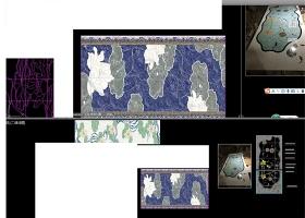 原创大理石荷花水刀拼花CAD中式花纹水墨荷花