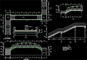原创钢结构过街天桥CAD设计图