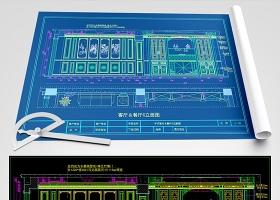 原创新中式客厅餐厅书房CAD深化图-版权可商用