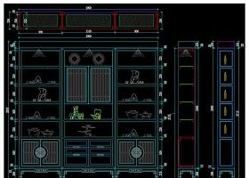 原创新中式橱柜博古柜装饰柜案例设计详图-版权可商用