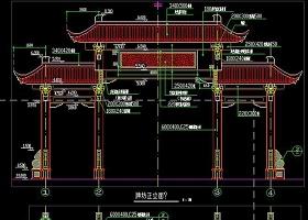 原创园林古建筑CAD中式牌坊施工图明清建筑-版权可商用