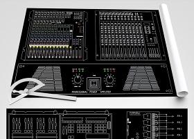 原创会议音响灯光器材CAD图库图块-版权可商用