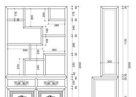 原创中式古典仿古设计书房CAD书架图纸-版权可商用