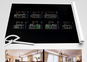 原创田园风一居室家装设计CAD施工图纸效果图-版权可商用