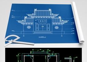 原创圆通寺山门殿建筑结构CAD图纸-版权可商用