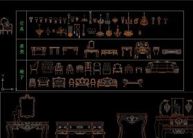 原创很少见的欧式古典家具库CAD图纸-版权可商用