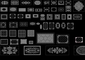 CAD地面瓷砖拼花图纸大理石水刀石拼花图