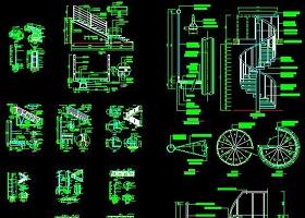 原创CAD旋转楼梯施工图楼梯大样图栏杆详图-版权可商用