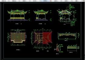 原创园林中式亭子CAD施工图