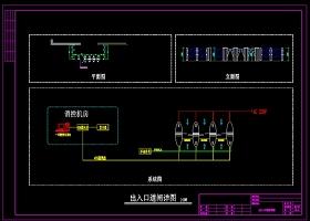 原创出入口道闸施工图尺寸图CAD弱电智能化