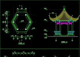 原创六角亭建筑结构CAD施工图纸-版权可商用