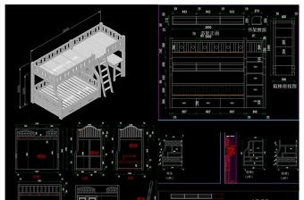 原创上下床高低床儿童床CAD图库-版权可商用