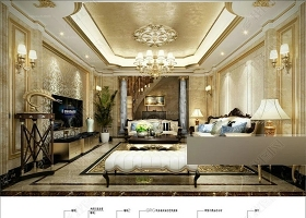 原创欧式风格客厅电视背景墙CAD图和效果图-版权可商用