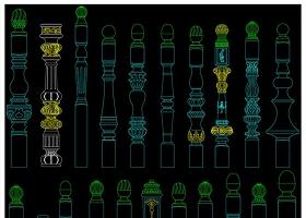 原创楼梯立柱扶手柱头设计CAD图库-版权可商用