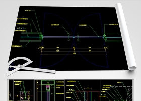 原创不锈钢玻璃隔断节点图及开启门CAD-版权可商用