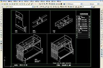 原创高低床CAD带组装图-版权可商用