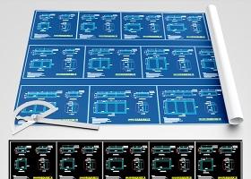 原创机房承重机柜底座制作施工图CAD模板图库-版权可商用