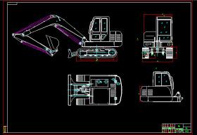 小型挖掘机装配及主要部件图