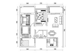 CAD三室两厅户型方案