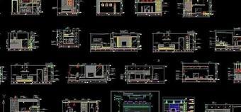 电视背景墙cad立面图24个 室内设计图片