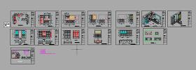 别墅整体橱柜衣柜书柜cad设计方案下载