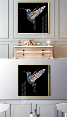 原创晶瓷装饰画动物鸟类蜂鸟钻石装饰画无框画
